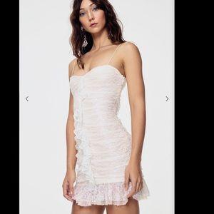 For Love & Lemons Rodin Iridescent Lace Mini Dress